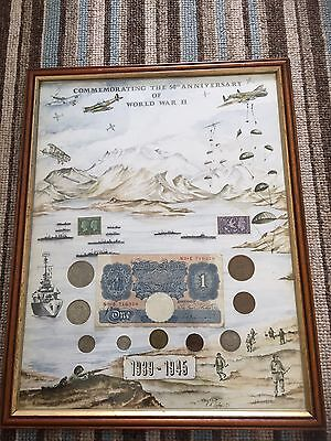 Ww2 Framed Silver Coins, Blue £1 Note And Stamp Collection 1939-1945