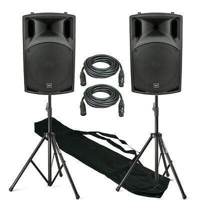 QTX QX15A 1000W Active DJ PA Club 15 Inch Speaker Stereo Package With Stands