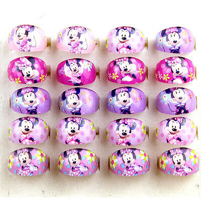 Lovely Cartoon Minnie Mouse Plastic Rings for Children Kid Girls Jewelry