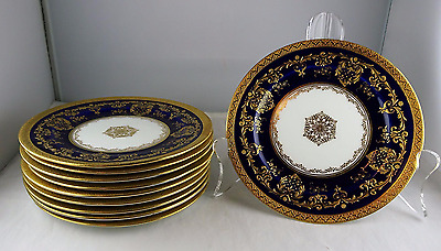 Ten Royal Doulton Antique Cobalt Raised Gold Encrusted Side Plates