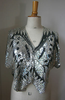 VINTAGE 1980s BLACK & SILVER SEQUIN SILK BUTTERFLY TOP GLAMOUR DISCO FESTIVAL