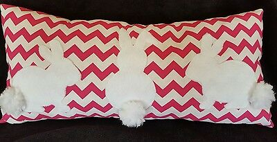 "New Decorative Reversible Pillow Bunny gift Chevron Pink  17""X 8"""