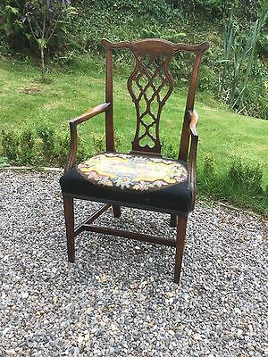 Antique Georgian Carver Arm Chair With Needlepoint Seat Cover
