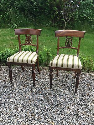 Antique Pair Of Georgian Bar Back Chairs With Inset Lyre Detailing