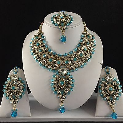 Blue Gold Indian Costume Jewellery Necklace Earrings Crystal Set Bridal New Gift