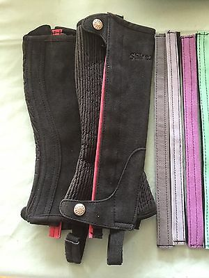 Shires Half Chaps Child Small Black With Changeable Strip