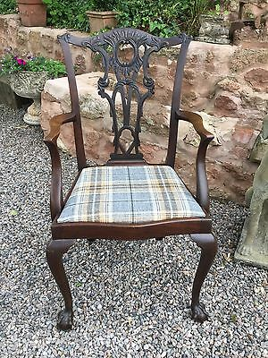 Antique Victorian Mahogany Carved Chair Newly Recovered