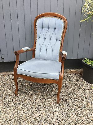 Antique Style Button Back Arm Chair