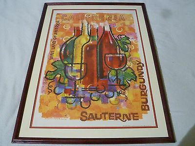 Framed Vintage 1965 California Wine Land Burgandy Poster Amado Gonzalez Litho >>