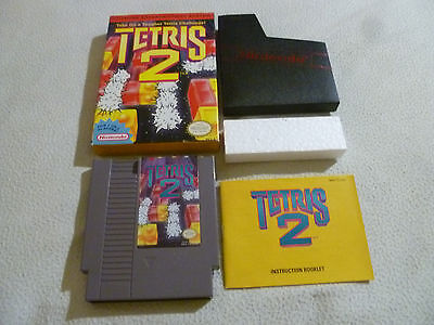 Boxed Nintendo Nes Game Video Cartridge Tetris 2 Complete W Box & Manual Puzzle