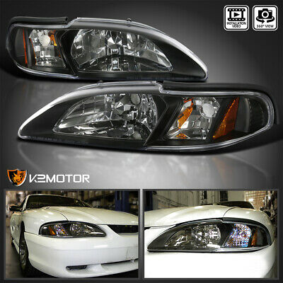 1994-1998 Ford Mustang 1Pc Style Black Replacement Headlights+Signal Lamp