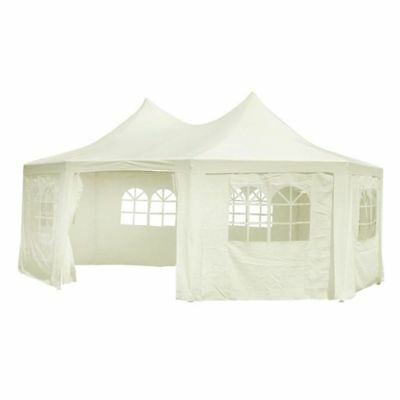 B#WHITE GARDEN GAZEBO PARTY TENT CANOPY 6 x 4 m MARQUEE OUTDOOR STRUCTURE