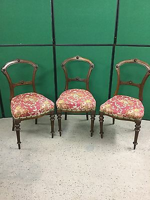 3 Antique Balloon Back Style Carved Chairs