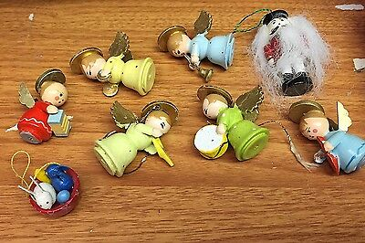Lot of Vintage Wooden Angel Ornaments AND 1 EASTER