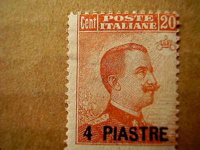 CONSTANTINOPLE-ITALIAN P.O.Turkish Empire O/P 4 PIASTRES on 20cent Type 41 SG.