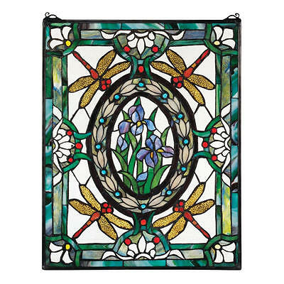 "25"" Victorian Style Dragonfly Cabochons Hand Crafted Stained Glass Window Panel"