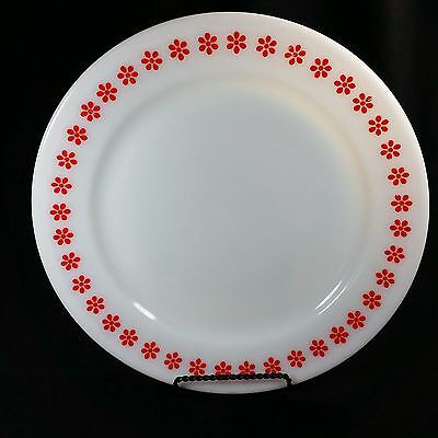 Pyrex Corning Red Flowers Friendship Under Plate 795 Milk Glass 10.5 inches