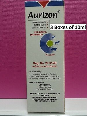 3 Boxes of 10ml Aurizon Ear Drops For Dogs treatment of otitis - Tracking number