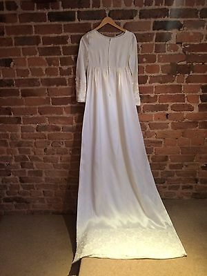 💕1960's Vintage Wedding Dress Long Sleeved Elegant Simple UK 12 -14💕
