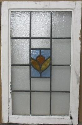 """MID SIZED OLD ENGLISH LEADED STAINED GLASS WINDOW Delightful Floral 17.25x26.75"""""""