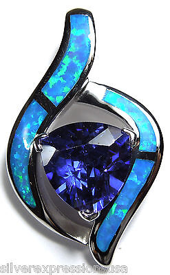 3.0 ct Tanzanite & Blue Fire Opal Inlay 925 Sterling Silver Pendant For Necklace