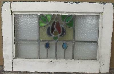 """OLD ENGLISH LEADED STAINED GLASS WINDOW Magnificent Abstract Floral 23"""" x 15"""""""