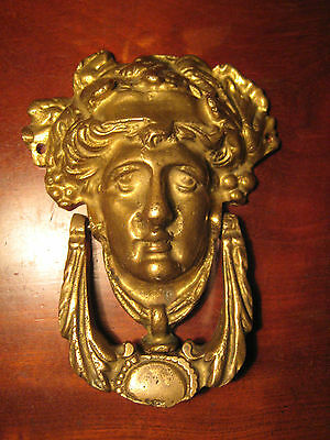 Vintage Brass ?  Figural Door Knocker Dionysus