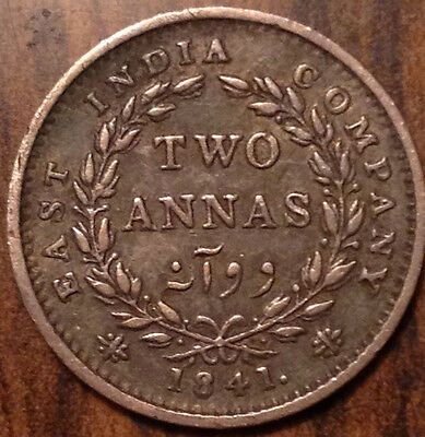 1841 India Silver Two Annas