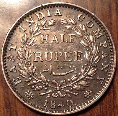 1840 India Silver 1/4 Rupee In Beautiful Condition