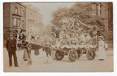 School Children On Horse Drawn Decorated Carnival Float Old Real Photo Postcard