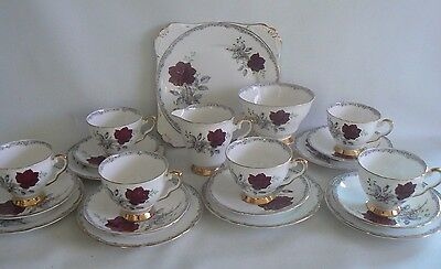 ROYAL STAFFORD Roses to Remember China Tea Set & Cake Plate 21 Pieces