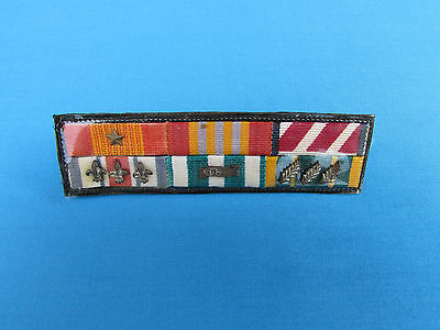 Nice South Vietnamese Made Rvn 6 Place Ribbon Bar W/ 8 Devices For Arvn Uniform
