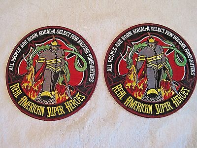 "Real American Super HeroesFirefighters 5"" embroidered patch multicolored"