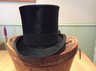 Henry Heath Top hat and leather hat box