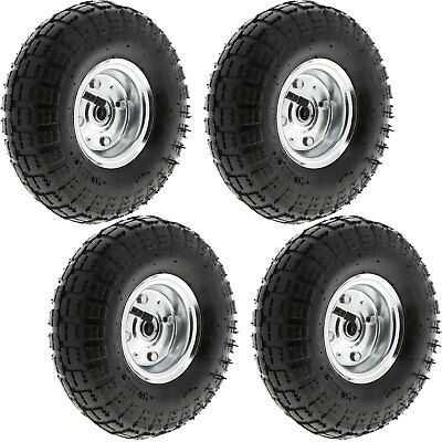 "4 Pack of 10"" Pneumatic Sack Truck Trolley Wheel Barrow Tyre Wheels 4.10/3.5-4.0"