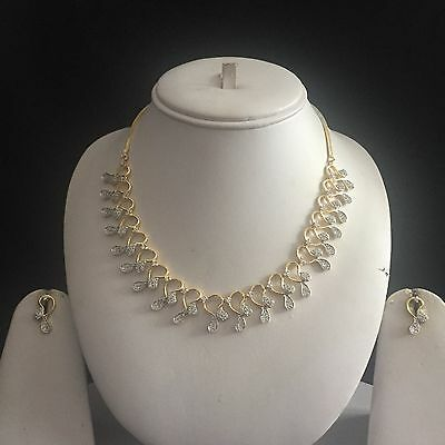 Clear Gold Costume Jewellery Necklace Earrings American Diamond Set Bridal New 0