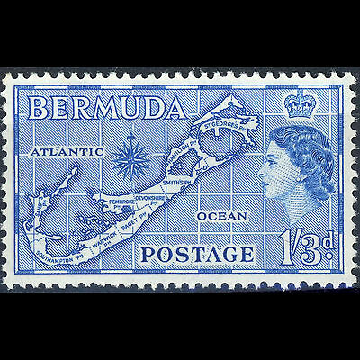 BERMUDA 1953-62 1s3d Blue. Map Type II. SG 145b. Mint Never Hinged. (AR264)