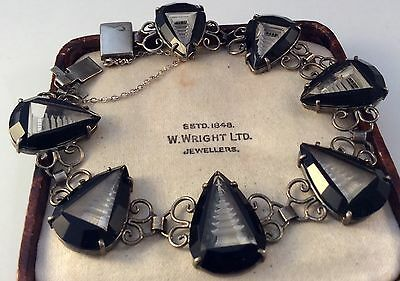 Vintage Jewellery Rare Reverse Carved 1940s Japanese Silver And Glass Bracelet
