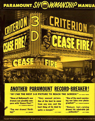 CEASE FIRE 3D pressbook Hal Wallis film, made w/US Department of Defense RARE!!