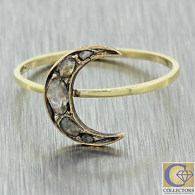 1870s Antique Victorian 14k Solid Yellow Gold Rose Cut Diamond Moon Ring