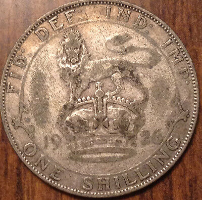 1926 Uk Gb Great Britain Silver One Shilling
