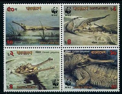 Bangladesh 1990 Endangered Gharial Crocodile set of 4 with WWF Panda Logo MNH