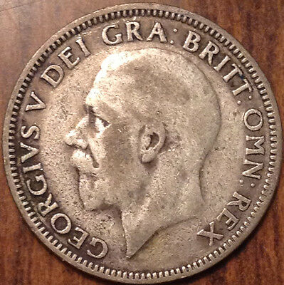 1927 Uk Gb Great Britain Silver One Shilling