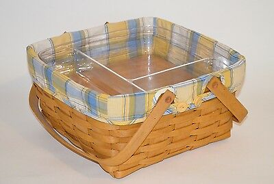 Longaberger 2004 Hostess Two Pie Basket Set with liner, riser, and 2 protectors