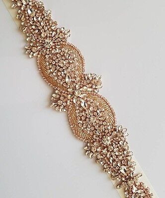 "Wedding Belt, Bridal Sash Belt - ROSE GOLD CLEAR CRYSTAL PEARL Belt = 15"" long"
