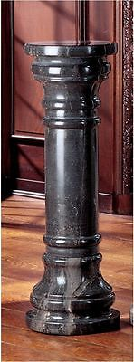 "31"" Medium: Charcoal Hand Carved Imported Solid Natural Marble Column Pedestal"