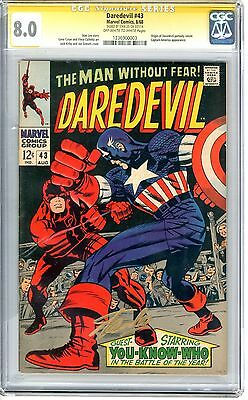 Daredevil #43 CGC 8.0 VF  off wht- wht pgs signed by Stan Lee Capt America App.