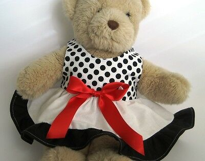 Teddy Bear Clothes, Handmade 'Suzi' Black and White Cotton Dress