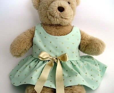 Teddy Bear Clothes, Handmade 'Molly' Mint Green with Gold Detail Cotton Dress