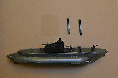"Ideal Toys Atomic Submarine Recast Dark Grey With 2 Torpedoes 10"" Really Shot"